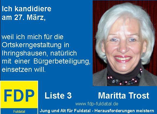 Maritta-Trost Anzeige in 2. Anzeigenkampagne der FDP in Fuldatal